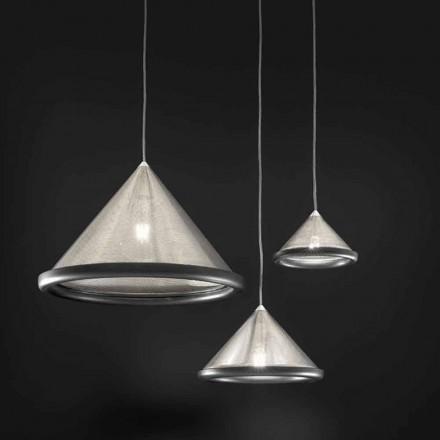 Lampa suspendată din oțel inoxidabil și ceramică - Tamiso Aldo Bernardi