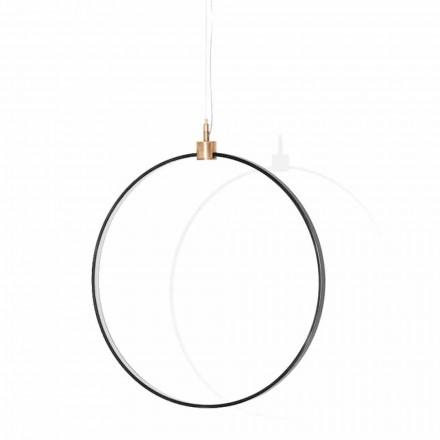 Lampă suspendată din aluminiu negru și alamă naturală Fabricată în Italia - Norma