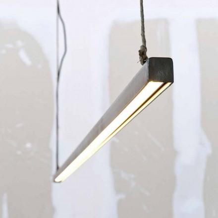 Lampă suspendată din fier și frânghie cu LED integrat Fabricat în Italia - Stecca