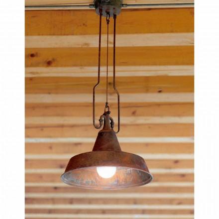 Lampa din turnatorie cupru si alama suspensie anticati