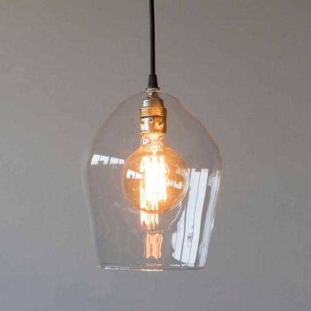 Lampă suspendată din sticlă și fier cu cablu de bumbac Fabricat în Italia - Bisma