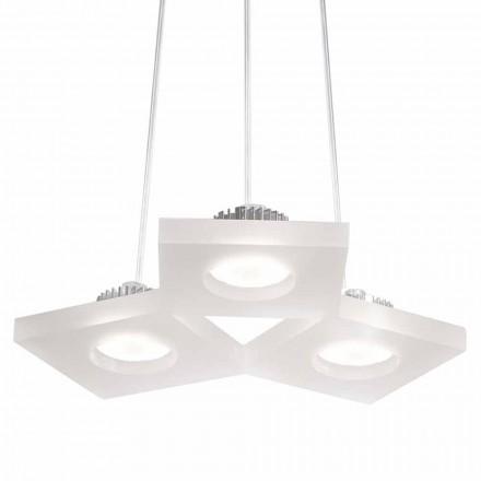 pandantiv lampa satin alb metacrilat, L.27xP.23 cm, în