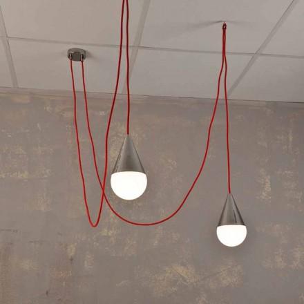 Lampă modernă cu pandantiv, cu 2 lămpi cu cablu roșu Chrome