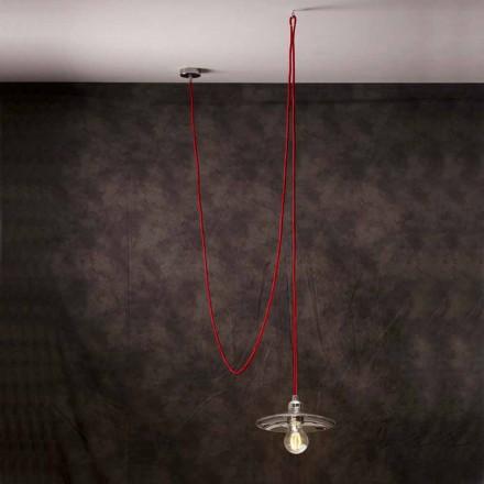 Lampă suspendată modernă cu cablu de mătase roșie din Chrome