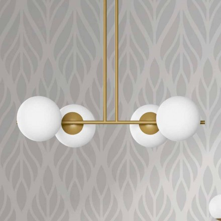 Lampă suspendată modernă din metal și sticlă albă Made in Italy - Carima