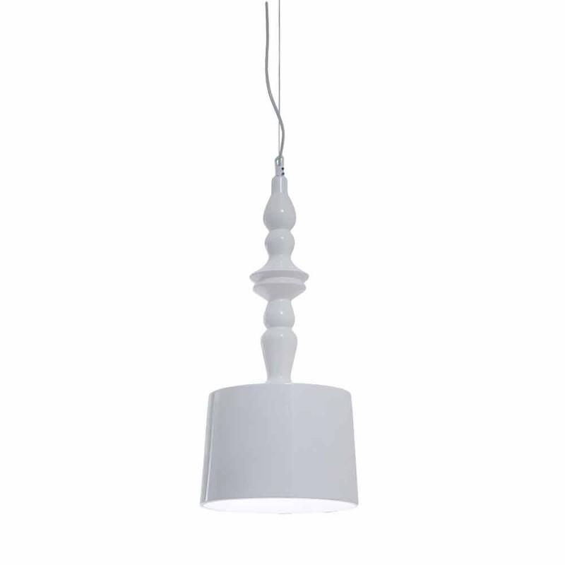 Abajur de lampă cu suspensie scurt în ceramică albă lucioasă - Cadabra