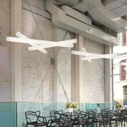 Pendant lampă din polietilenă albă Slide Mesh, fabricată în Italia