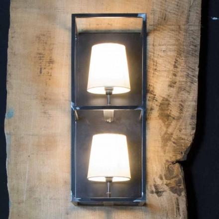Lampă de perete artizanală din fier negru cu 2 abajururi Made in Italy - Turn