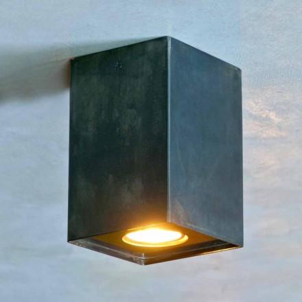 Lampă cubică din fier negru cu suduri înghețate Made in Italy - Cubino