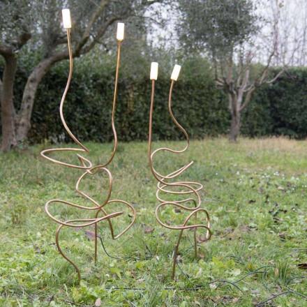 Lampă de exterior din cupru natural cu sticlă decorativă Made in Italy - Fusillo