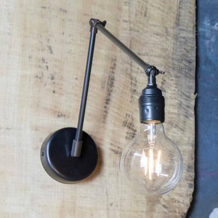 Lampă de perete realizată manual din fier negru reglabil Fabricat în Italia - Ander