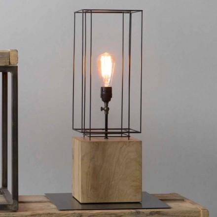 Lampă de masă din fier, fabricată manual, cu bază din lemn, fabricată în Italia - măslin