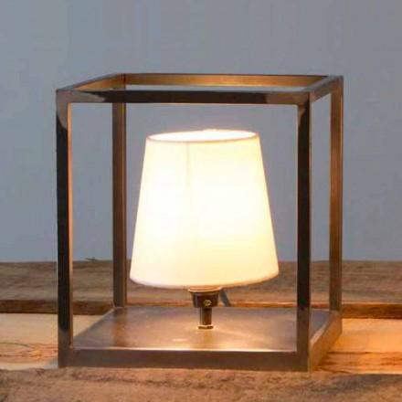 Lampă de masă din fier, fabricată manual, cu abajur Made in Italy - Cubola