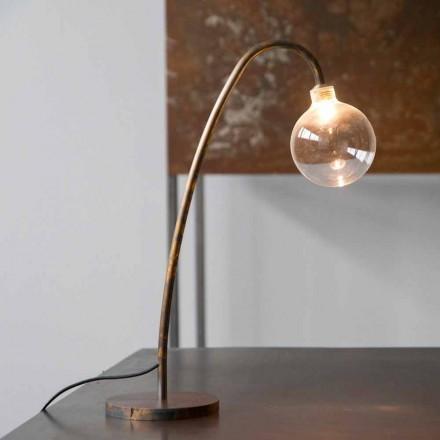 Lampă de masă din fier realizată manual Finisaj auriu Fabricat în Italia - Ribolla