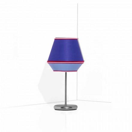 Lampă de masă albastră cu structură metalică cromată Fabricată în Italia - Soia