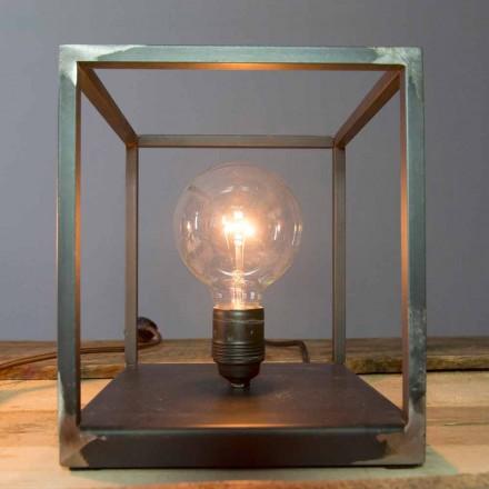 Lampă de masă cu structură de fier artizanală Made in Italy - Cubola