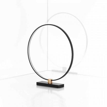Lampă de masă design din aluminiu negru și alamă Made in Italy - Norma