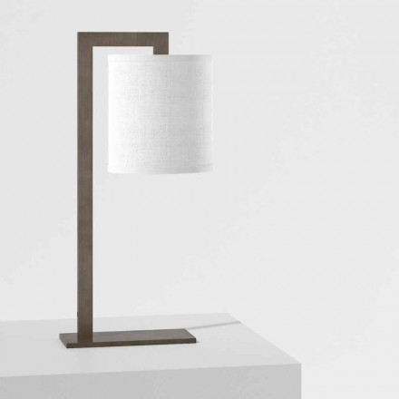 Lampă de masă design din metal și lenjerie albă Made in Italy - Bali