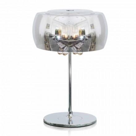 Lampa de masă design din sticlă, cristal și metal cromat - Cambria
