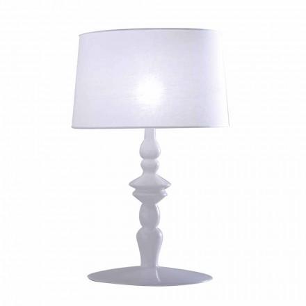 Lampă de masă din ceramică albă și abajur din in 2 dimensiuni - Cadabra