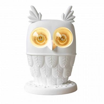 Lampă de masă din ceramică albă mată 2 lumini Design modern Owl - Owl