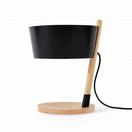 Lampă de masă din fag cu detalii din metal și piele vegană - Avetta