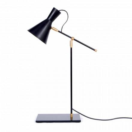 Lampă de masă din fier și aluminiu Culoare negru mat Fabricat în Italia - Malita