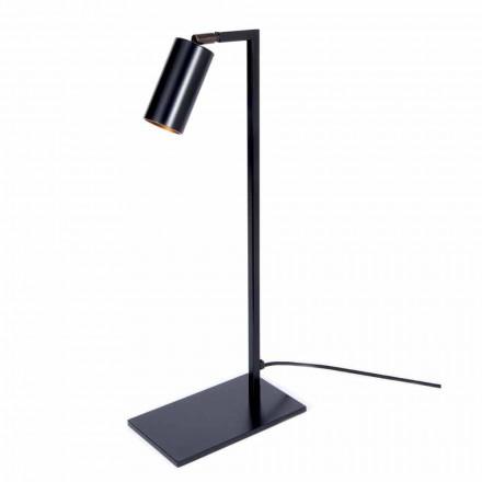 Lampă de masă din fier și aluminiu negru mat cu LED Fabricat în Italia - Agio