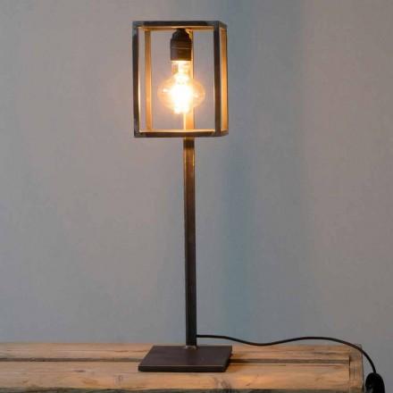 Lampă de masă din fier negru cu cablu de bumbac Fabricat în Italia - Unic