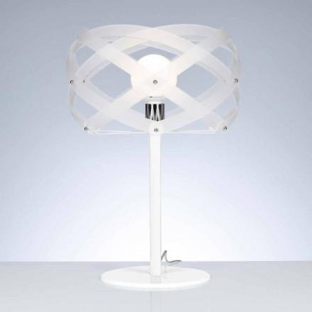 Lampă de masă alb satin metacrilat diametru 40 cm Vanna