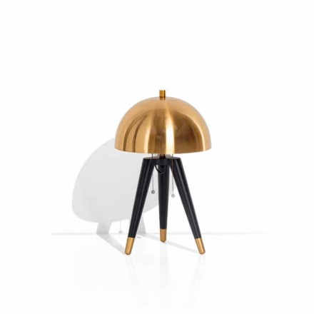 Lampă de masă din metal negru și alamă periată Made in Italy - Peter