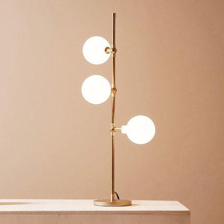 Lampă de masă modernă realizată manual din alamă cu LED Made in Italy - Grippa