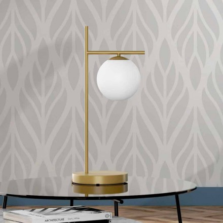 Lampă de masă modernă, finisată din alamă și sticlă, fabricată în Italia - Carima