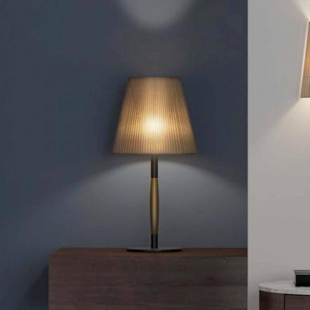 Lampă de masă modernă din metal, lemn și organza Made in Italy - Boom