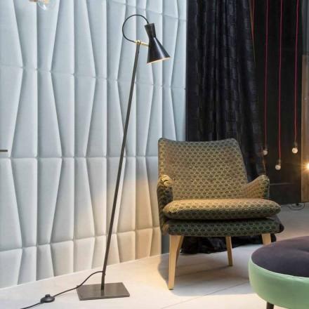 Lampă de podea artizanală din fier negru și aluminiu Fabricat în Italia - Brema