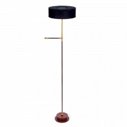 Lampă de podea cu umbră din in negru realizată manual Made in Italy - Aurelia