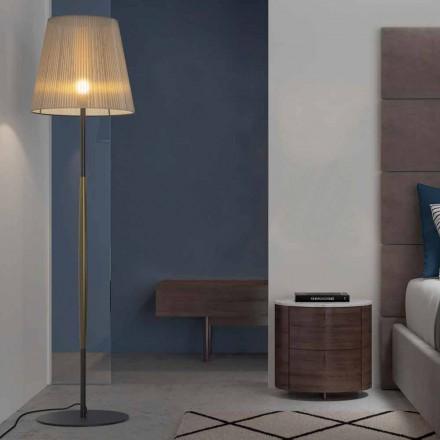 Lampă de podea design din metal, lemn și organza Made in Italy - Boom