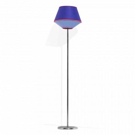 Lampă de podea din metal cromat cu abajur din țesătură Made in Italy - Soia