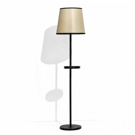 Lampă de podea din metal negru și Rattan cu raft Made in Italy - Livia