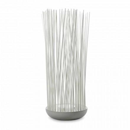 Lampă de podea cu led în tehnopolimer gri și tije din pvc alb - Touch