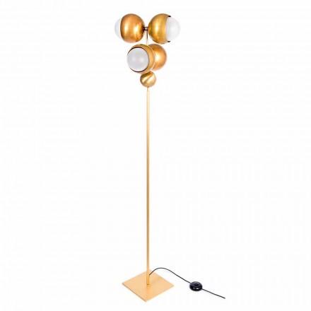 Lampă de podea modernă artizanală din alamă și sticlă Made in Italy - Gandia
