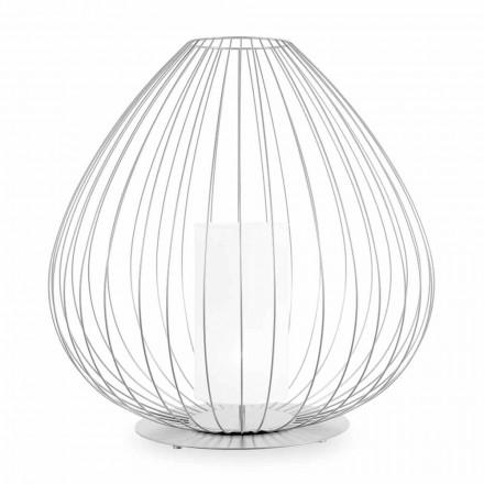 Lampă de podea sau suport în sârmă metalică albă sau bronzată - Lanternă