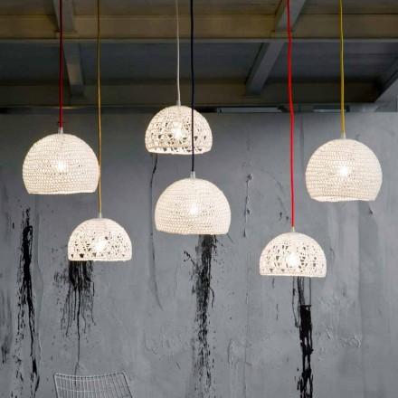 Lampa din bumbac si viscoza suspendata In-es.artdesign Textura moderna