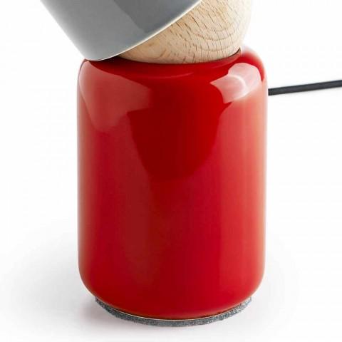 Lampă de masă modernă din lemn de fag și ceramică realizată în Italia Asia