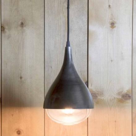 Lampă suspendată manuală din aluminiu și bumbac negru Fabricată în Italia - Sissa