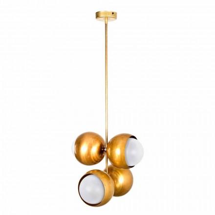 Lampă suspendată fabricată manual din alamă naturală și sticlă fabricată în Italia - Gandia