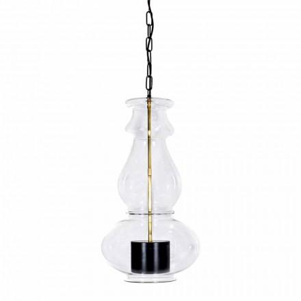 Lampă suspendată artizanală din sticlă suflată și alamă fabricată în Italia - Vitrea
