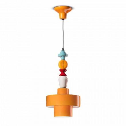 Lampa suspendată din ceramică galbenă sau verde realizată în design italian - Ferroluce Lariat