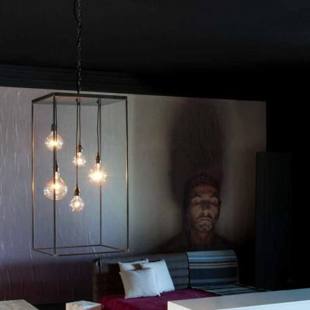 Lampă suspendată cu structură de fier realizată manual Made in Italy - Cosma