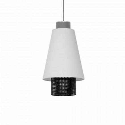 Lampă suspendată de design modern din țesătură și ratan Fabricat în Italia - Sailor
